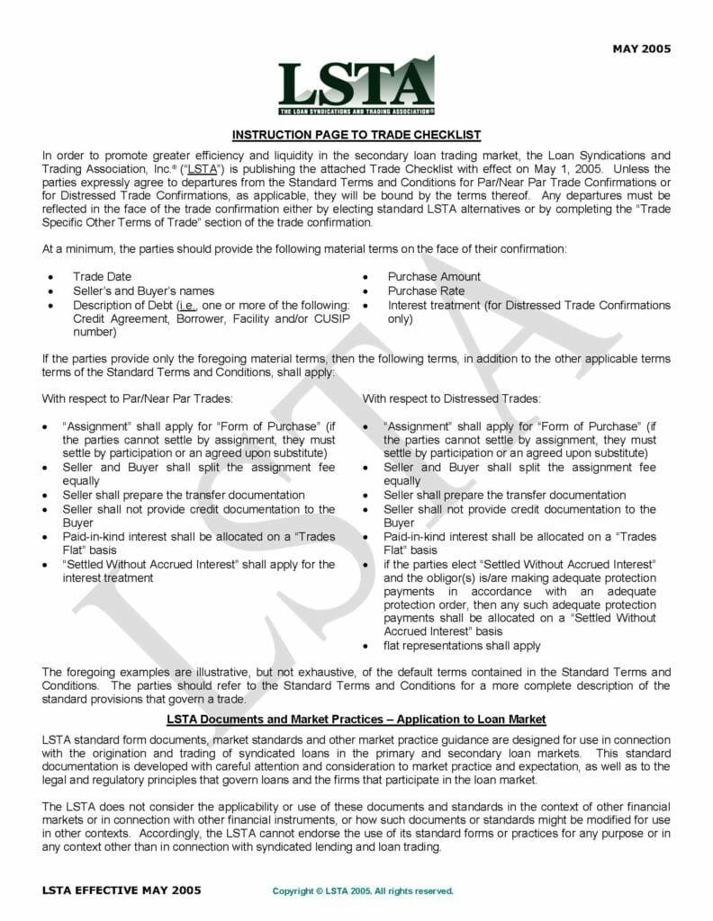 Trade Checklist (May 16, 2005)