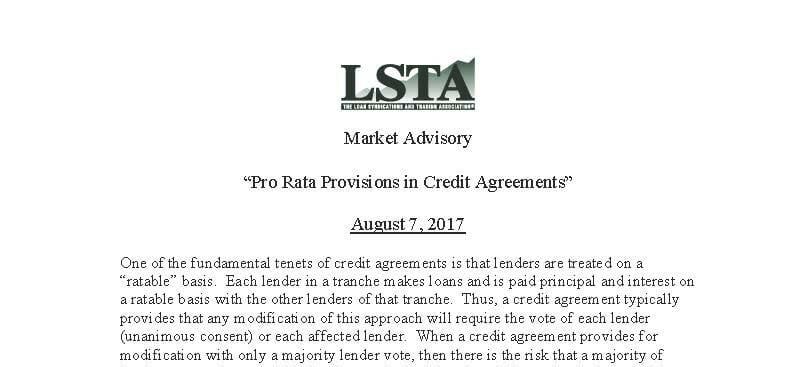 Pro Rata Advisory (August 7, 2017)