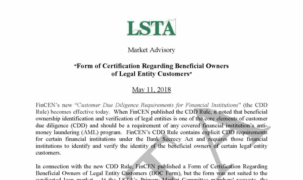 Form of Certification Regarding Beneficial Owners of Legal Entity Customers (May 11, 2018)