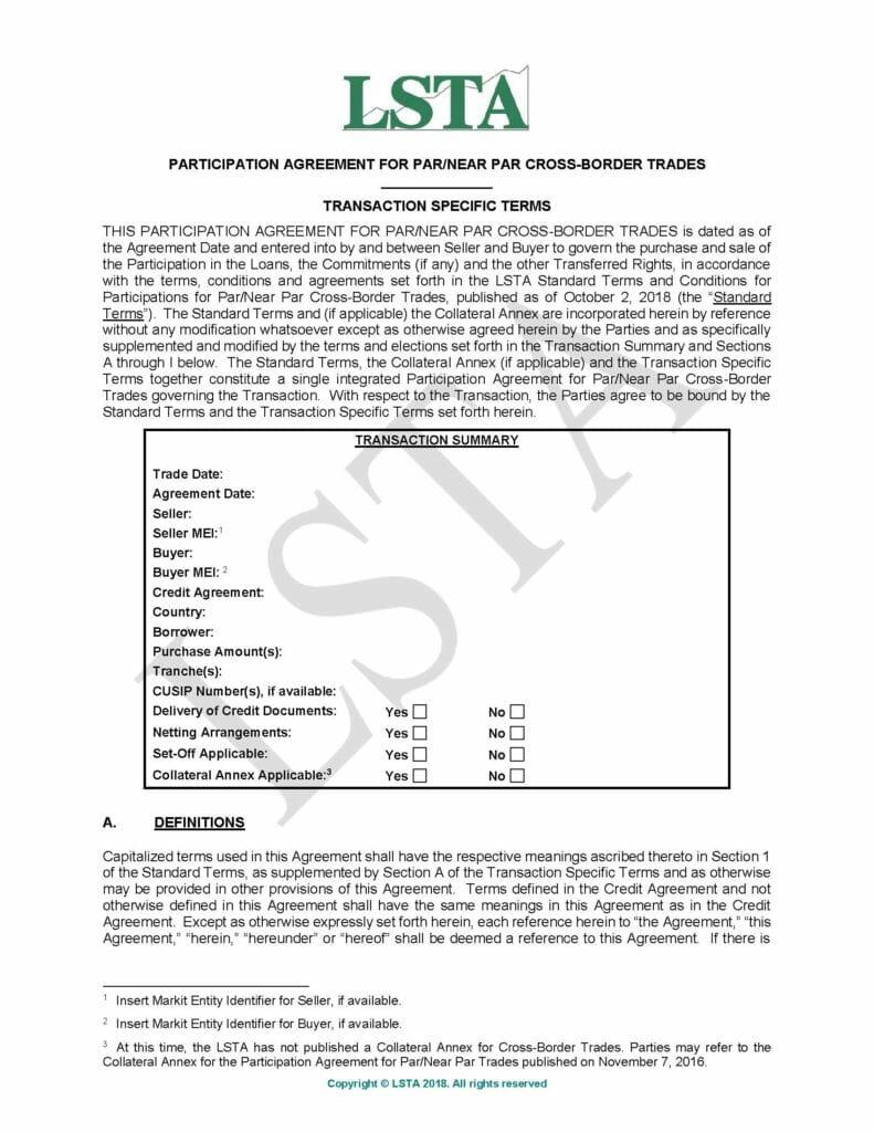 Participation Agreement For Par_Near-Par Cross-Border Trades – TSTs (October 2, 2018)
