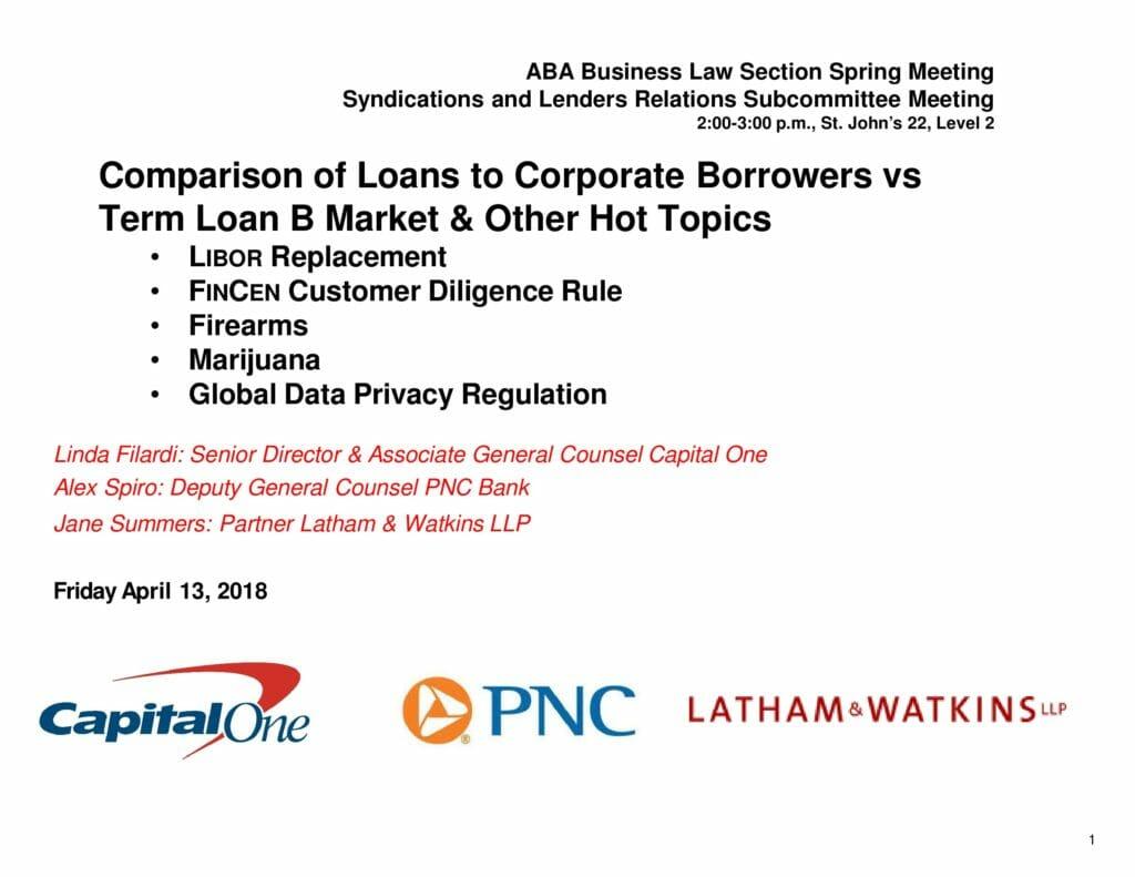 Comparison of Loans to Corporate Borrowers vs Term Loan B Market - LSTA