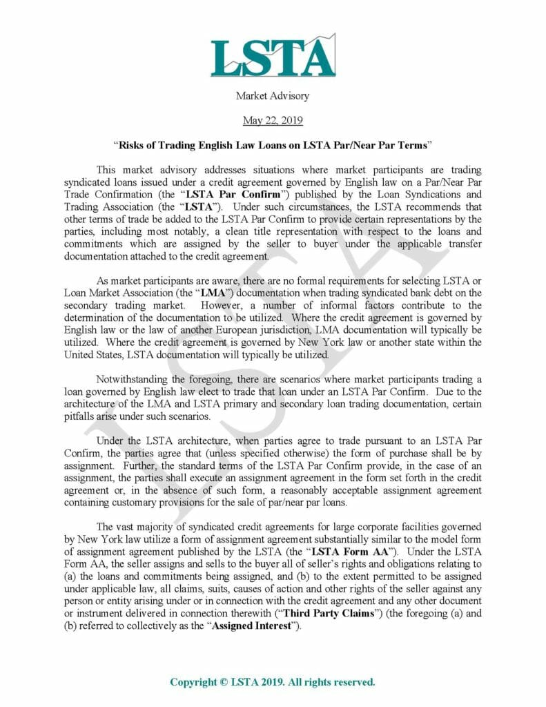 Pages from Trading English Law Governed Loans on LSTA Docs (May 22, 2019)