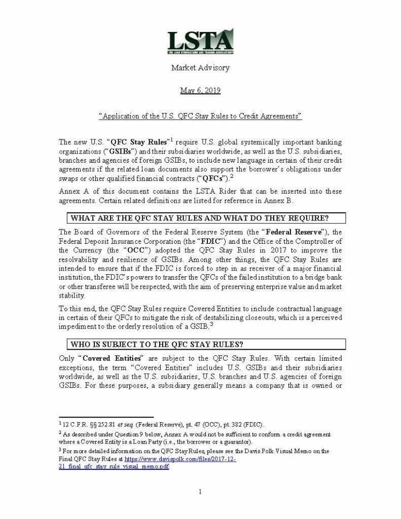 QFC Stay Rules Market Advisory (May 6, 2019)