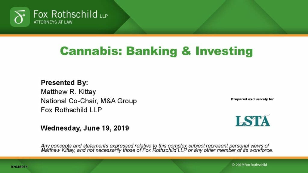 Cannabis-Banking & Investing (June 19, 2019)