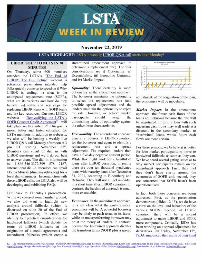 LSTA Newsletter - November 22, 2019