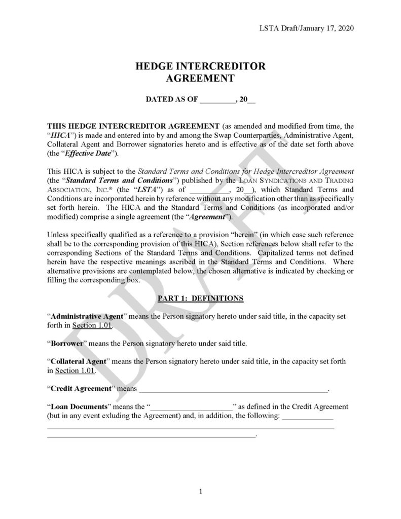 Pages from Draft Form of Hedge Intercreditor Agreement (January 17, 2020)