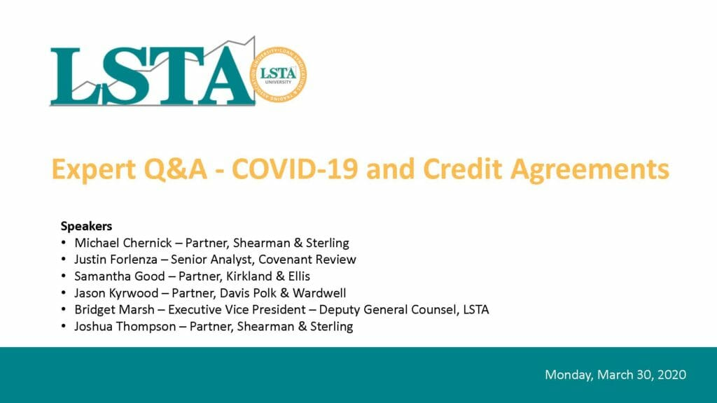 Pages from Expert QA - COVID-19 and Credit Agreements (March 30, 2020)