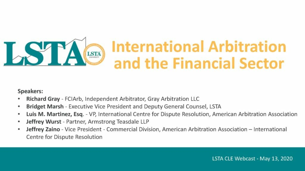 Pages from LSTA International Arbitration for Financial Disputes (May 13, 2020)