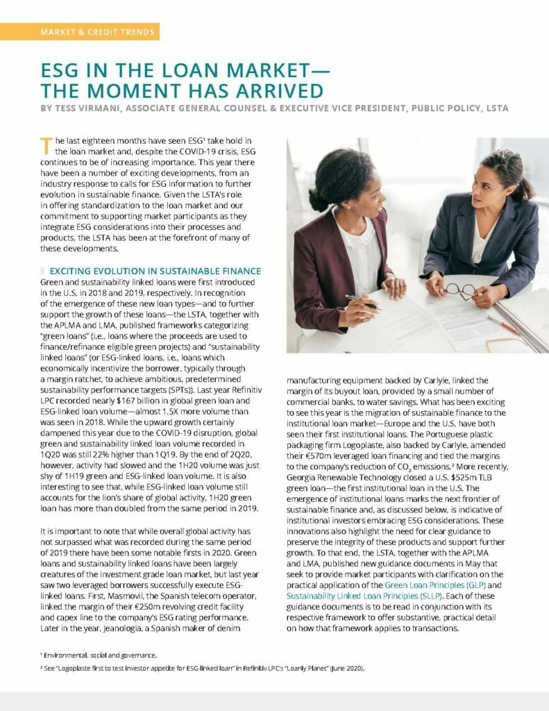 ESG in the Loan Market The Moment has Arrived by Tess Virmani (July 2020)