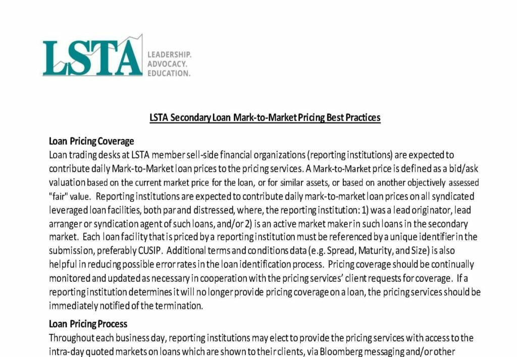 Pages from LSTA Secondary Loan Mark-to-Market Pricing Best Practices