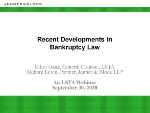 Recent Developments in Bankruptcy Law (September 30, 2020)
