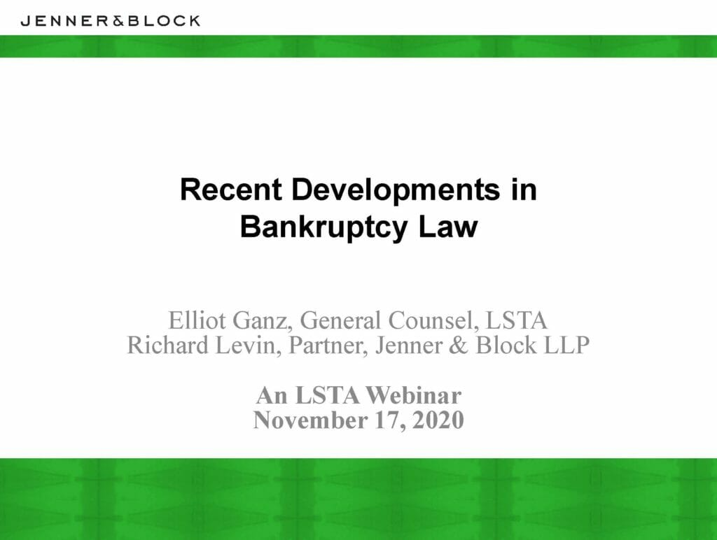 Recent Developments in Bankruptcy Law (November 17, 2020)