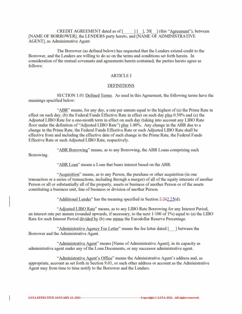Blacklined - Form of Credit Agreement (Term Loan and Revolver) (Jan 20 2021)