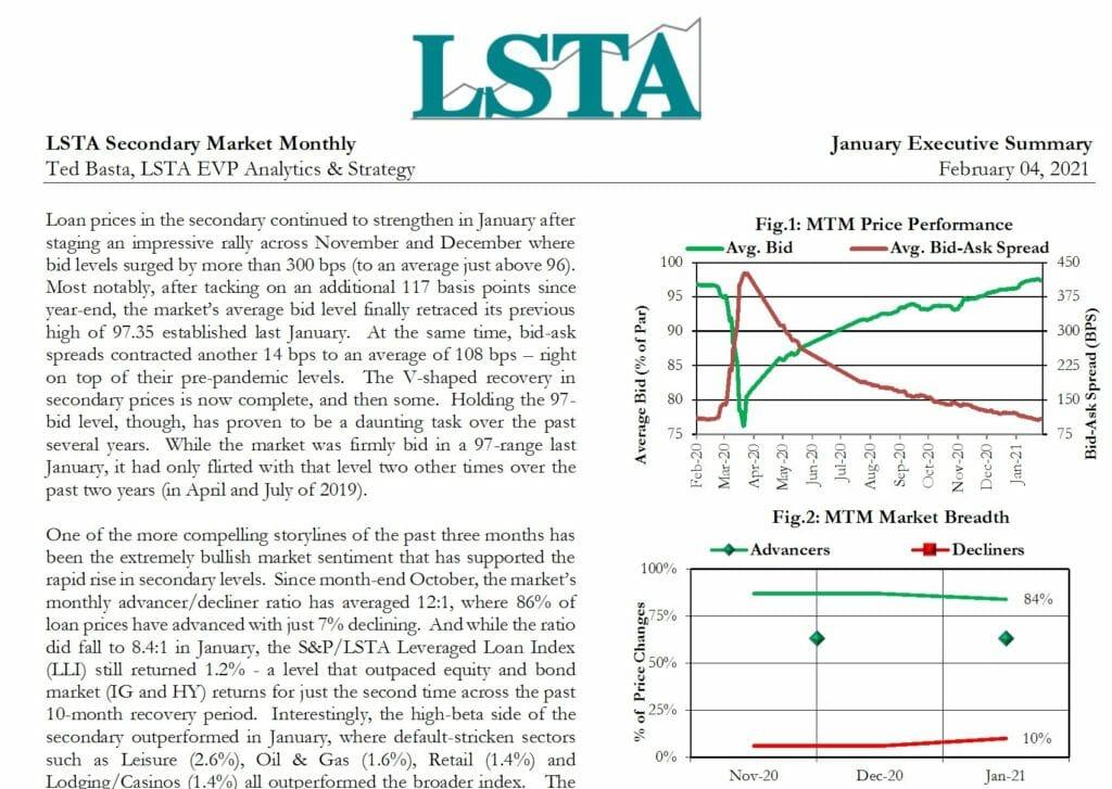 Secondary Market Monthly - January 2021 Executive Summary