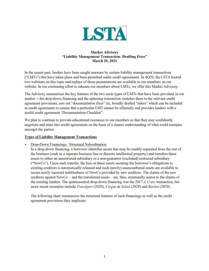 Market Advisory_Liability Management Transactions (Mar 29 2021)