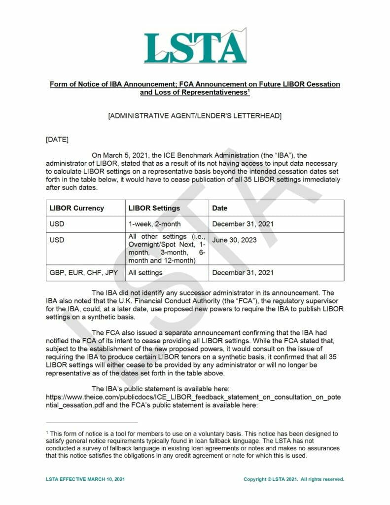 Notice of IBA and FCA Announcements (Mar 10 2021)