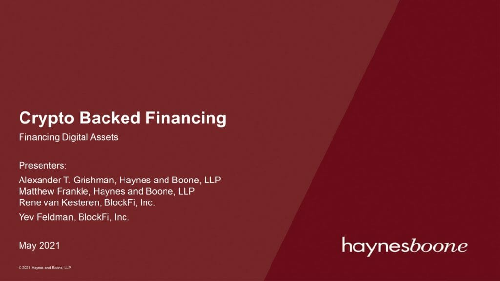 Digital Asset Financing Market Update (May 13 2021)