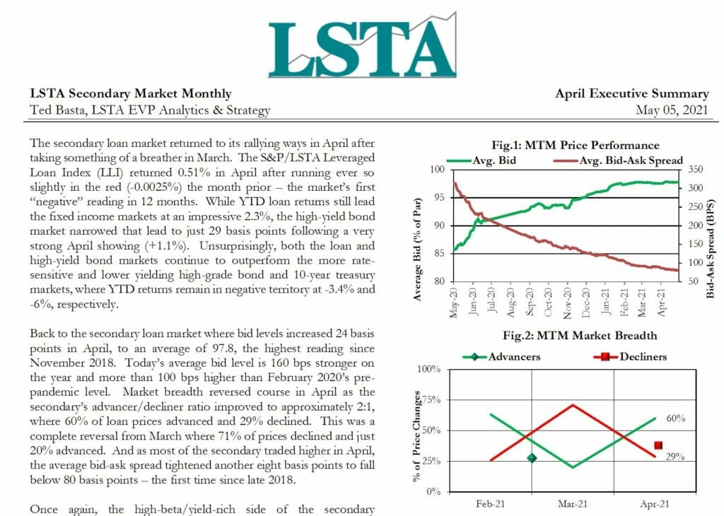 Secondary Market Monthly - April 2021 Executive Summary