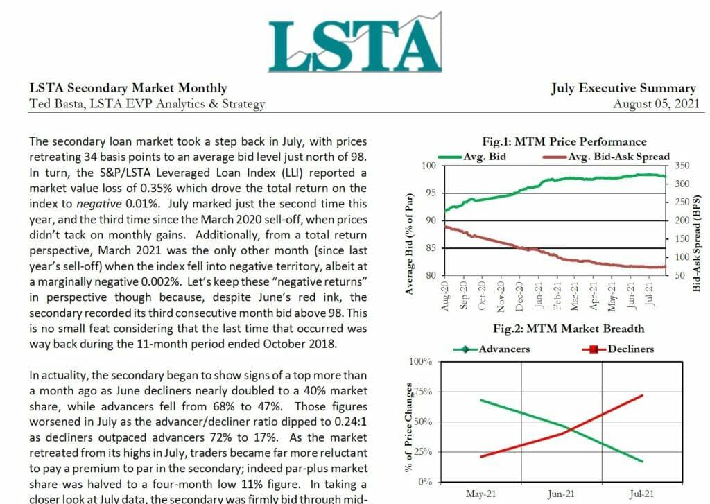 Secondary Market Monthly - July 2021 Executive Summary