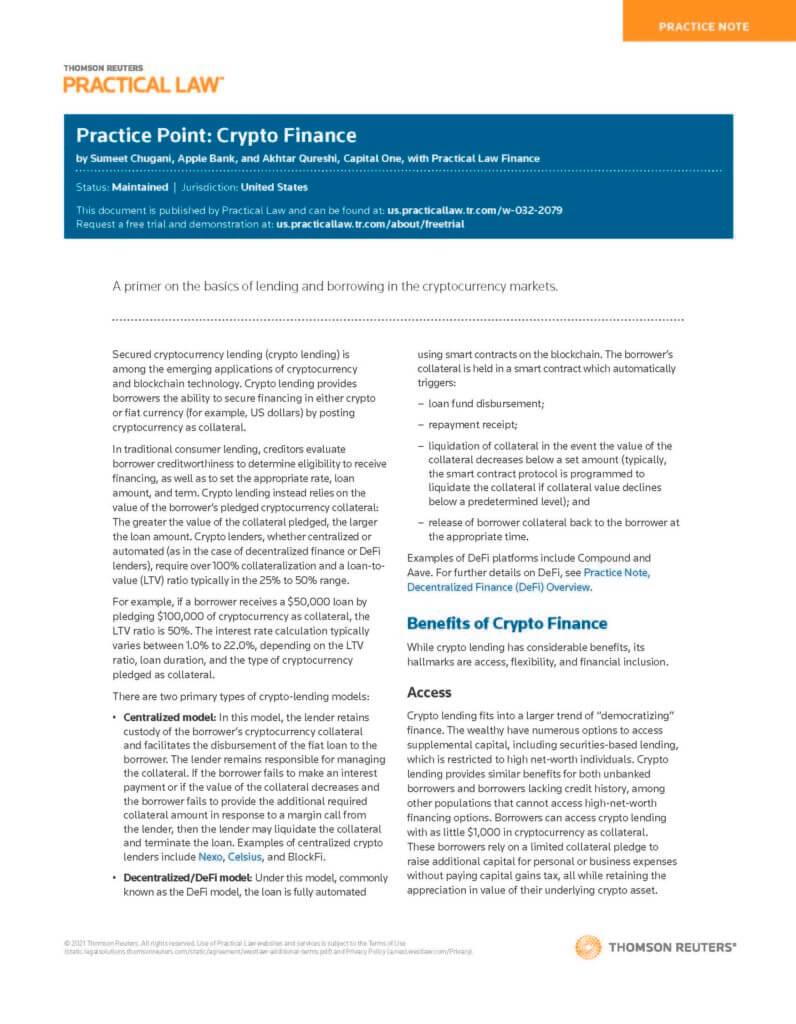 Practice Point Crypto Finance Sept 20, 2021