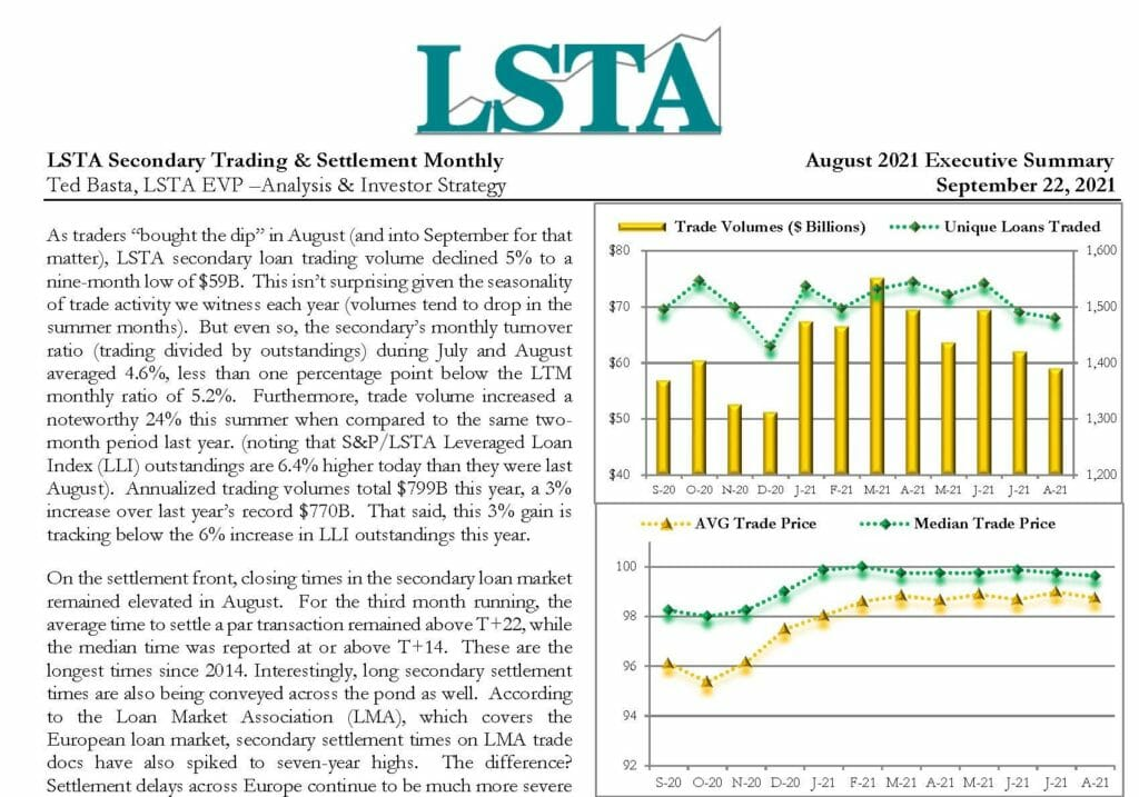 Secondary Trading Settlement Monthly - August 2021 Executive Summary